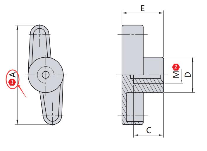旋钮直径 A(mm)