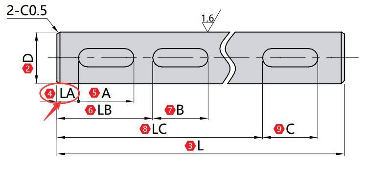键槽1 LA(mm)